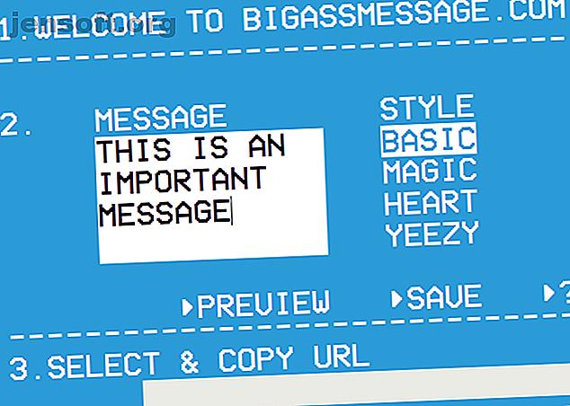 ¿Busca una manera fácil de enviar mensajes a pantalla completa?  BigAssMessage es un divertido servicio web para mostrar grandes mensajes en pantalla.