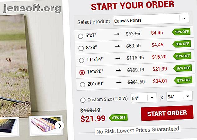 CanvasChamp es una excelente manera de obtener impresiones de lienzo personalizadas, tazas y más.  Esto es lo que ofrece.