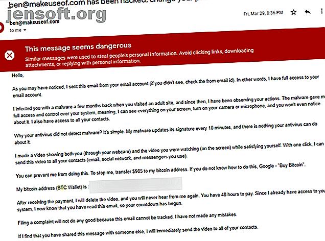Vous avez reçu un courrier électronique d'une personne affirmant avoir accès à votre compte?  Voici une ventilation de l'escroquerie par courriel du site Web pour adultes.