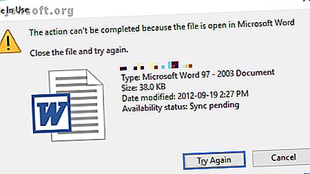 विंडोज का कहना है कि आपकी फ़ाइल उपयोग में है क्योंकि यह किसी अन्य प्रोग्राम में खुली है?  हम आपको फ़ाइल का नाम बदलने, हटाने या स्थानांतरित करने का तरीका दिखाते हैं।